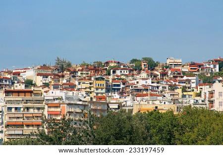 Houses in Thessaloniki city, Greece - stock photo