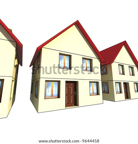 houses - isolated 3d illustration on white background
