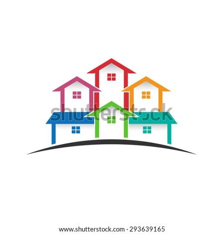 Houses logo real estate image.  - stock photo