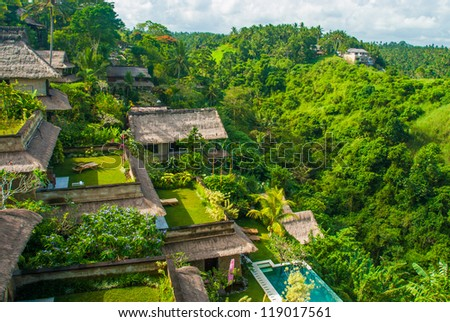 Houses looking over a ravine, Bali, Indonesia