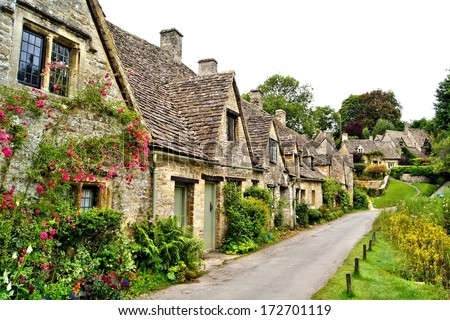 Houses of Arlington Row in the village of Bibury, England - stock photo