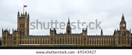 Houses of Parliament, also known as the Palace of Westminster, rebuilt in the 19th Century by Charles Barry and Augustus Pugin in a Neo-Gothic style.