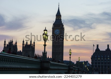 Houses of Parliament and Big Ben at sunset, London UK  - stock photo