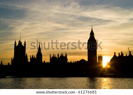 Houses of Parliament and Big Ben at sunset, London UK