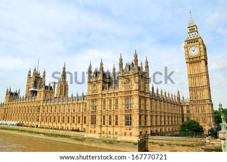 Houses of Parliament and Big Ben Clocktower - stock photo