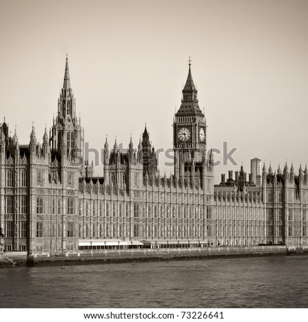 Houses of Parliament and Big Ben in Westminster, London. Clear summer sky. - stock photo