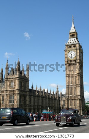 Houses of Parliament and Black Cab, London - stock photo