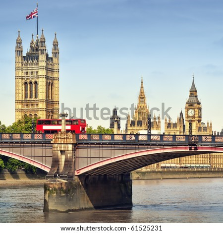 Houses of Parliament and Lambert Bridge. - stock photo