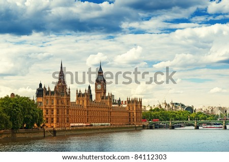 Houses of Parliament and River Thames, London. - stock photo