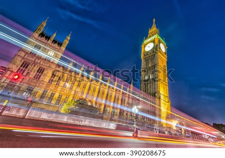 Houses of Parliament at night, London. - stock photo