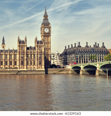 Houses of Parliament at summer time, London, UK. - stock photo
