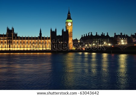 Houses of Parliament at twilight.