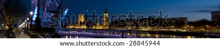 Houses of Parliament at Twilight.Panoramic picture of Westminster at Twilight. - stock photo