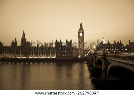 Houses of Parliament at twilight with Westminster Bridge, London - stock photo