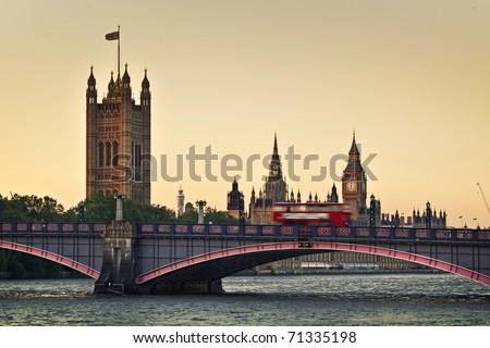 Houses of Parliament, Big Ben and Lambeth Bridge at dusk, London. - stock photo