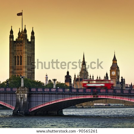 Houses of Parliament, Big Ben and Lambeth Bridge at dusk, London. - stock photo