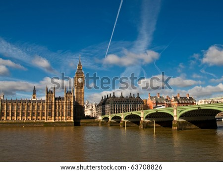 houses of parliament, Big Ben and westminster bridge - stock photo