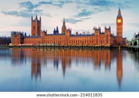 Houses of parliament - Big ben, england, UK - stock photo