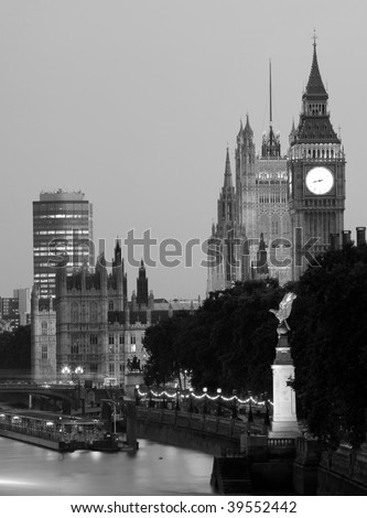 Houses of Parliament, black and white shot - stock photo