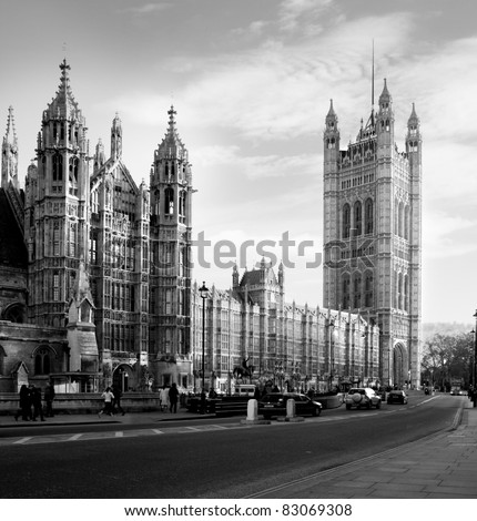 Houses of Parliament  in London UK view from Abingdon street. black and white - stock photo