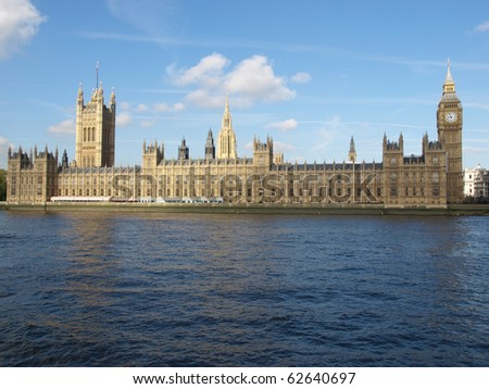 Houses of Parliament, Westminster Palace, London gothic architecture - stock photo