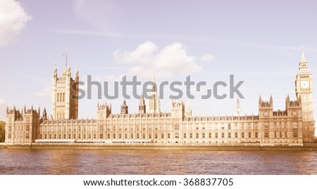 Houses of Parliament, Westminster Palace, London gothic architecture vintage - stock photo