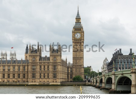 Houses of Parliament, Westminster Palace, London: the meeting place of the House of Commons and the House of Lords. - stock photo
