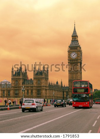 Houses of Parliament with Big Ben tower in London - stock photo