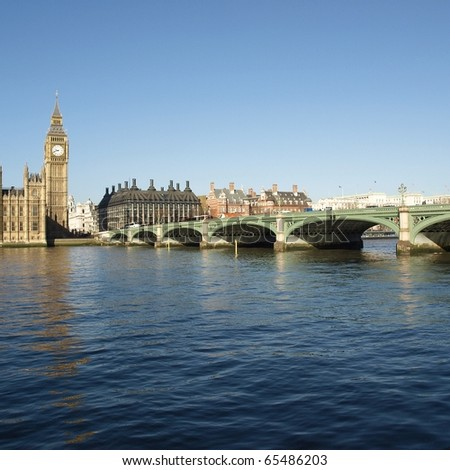 Houses of Parliament with Big Ben, Westminster Palace, London, UK - stock photo