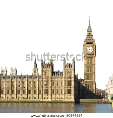 Houses of Parliament with Big Ben, Westminster Palace, London, UK - isolated over white with copy space - stock photo