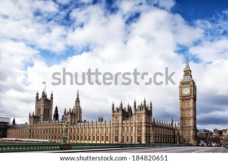 Houses of the British Parliament and Big Ben - stock photo