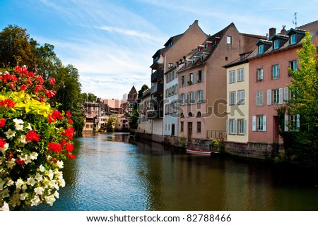 Houses of the Petit France on the canal in Strasbourg - stock photo