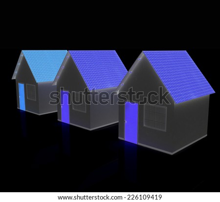Houses on a black background