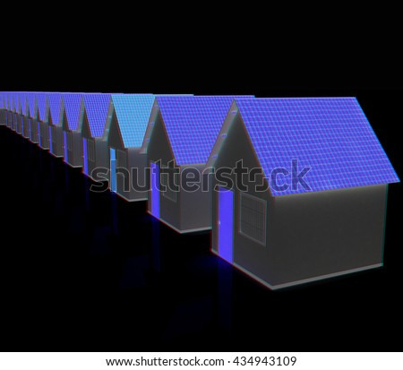 Houses. On a black background. 3D illustration. Anaglyph. View with red/cyan glasses to see in 3D. - stock photo