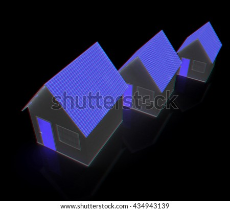 Houses. On a black background. 3D illustration. Anaglyph. View with red/cyan glasses to see in 3D.. On a black background. 3D illustration. Anaglyph. View with red/cyan glasses to see in 3D. - stock photo