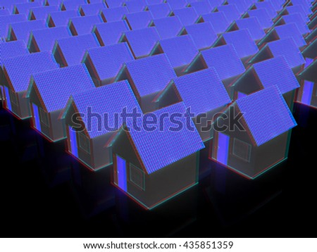 Houses on a black background. 3D illustration. Anaglyph. View with red/cyan glasses to see in 3D. - stock photo
