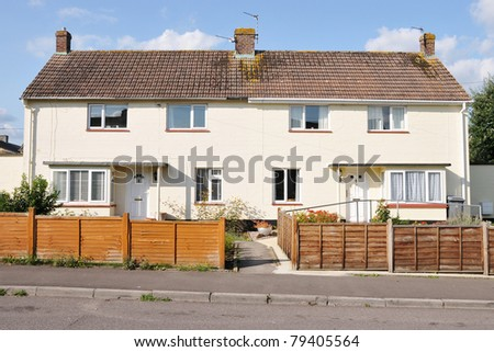 Houses on a Typical English Council Estate Built During the Expansion of Social Housing in the 1960s - stock photo