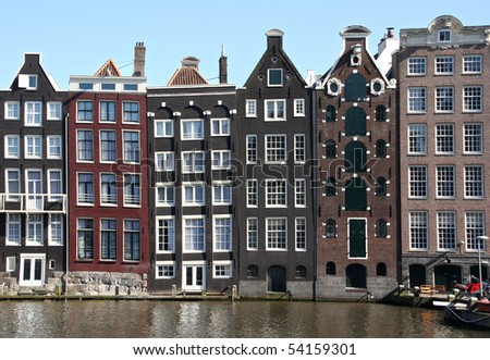 Houses on Amsterdam canal - stock photo