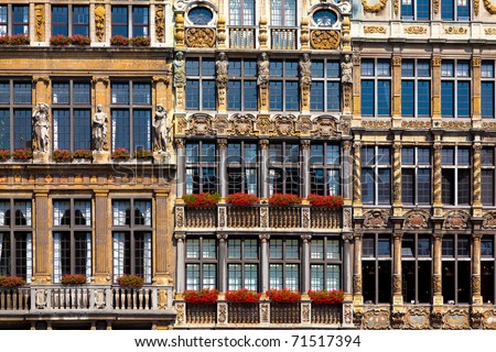 Houses on Grand Place in Brusels, Belgium - stock photo