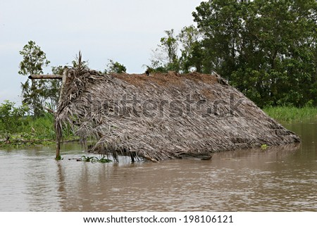 Houses on stilts barely rises above the water in the Amazon River Basin near Iquitos, Peru - stock photo