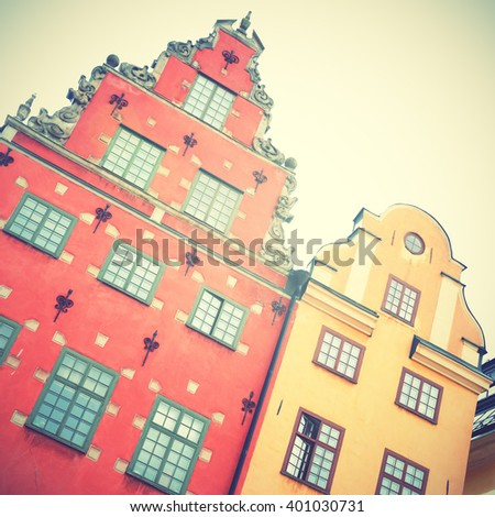 Houses on Stortorget square in Stockholm. Instagram style filtred image - stock photo