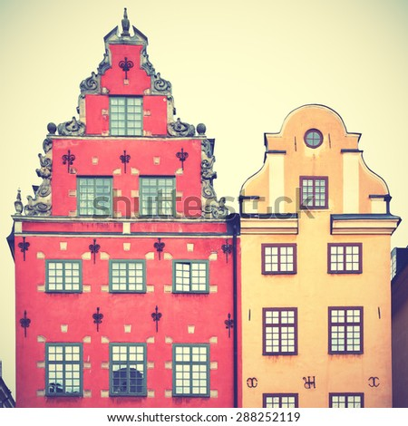 Houses on Stortorget square in Stockholm. Retro style filtred image - stock photo
