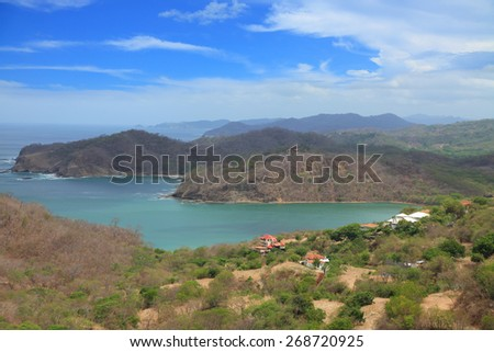 houses on the coast of the Pacific Ocean. Nicaragua - stock photo