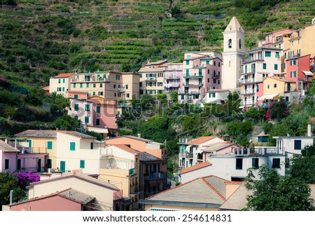 Houses on the hill - stock photo