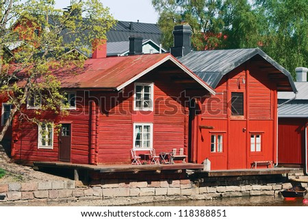 Houses on the river embankment in the Finnish city - Porvoo - stock photo