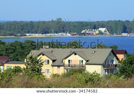 Houses on the shore of the sea