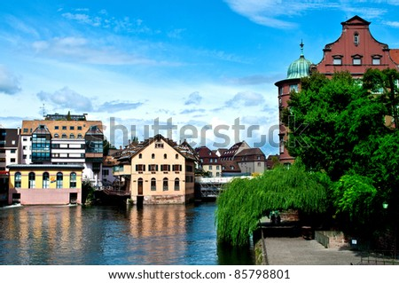 Houses on the water in the Petit France in Strasbourg - stock photo