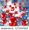 houses rates falling sky cloud - stock photo