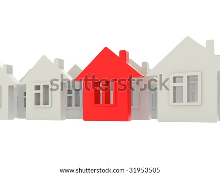 houses rows on white background - stock photo