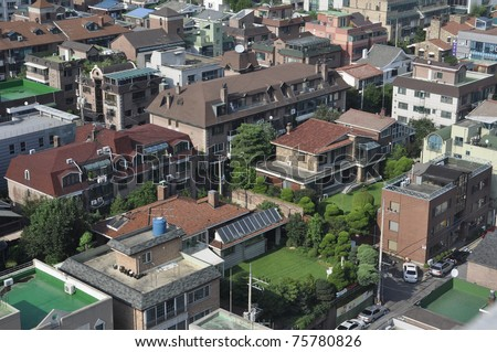 houses seen from a high vantage point of view - stock photo